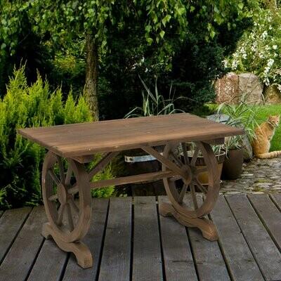 Outsunny® Gartentisch Balkontisch Holztisch Witterungsbeständig Räderform Massivholz Natur