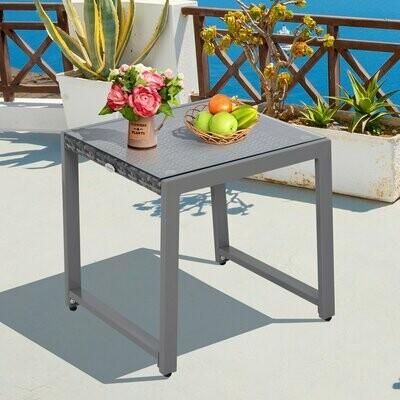 Outsunny® Gartentisch Garten Beistelltisch Gartenmöbel mit Hartglas Polyrattan + Aluminium Grau 50 x 49,5 x 50 cm