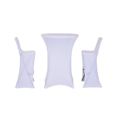 Outsunny® 3-teilig Barset Bistroset Bargruppe Sitzgruppe klappbar mit Bezug Weiß 1 x Bartisch 2 x Barhocker