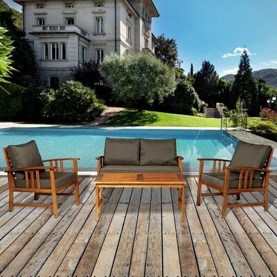 Outsunny® 4er-Set Gartenmöbel Holz Sitzgruppe Garnitur Lounge mit Kissen Tisch Sessel Braun 3–4 Personen
