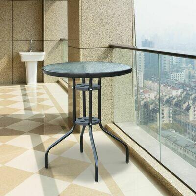 Outsunny® Gartentisch Glastisch Bistrotisch Balkontisch Φ60x70cm