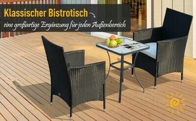 Outsunny® Gartentisch Bistrotisch Hartglas Metall 68,5x68,5cm Schwarz