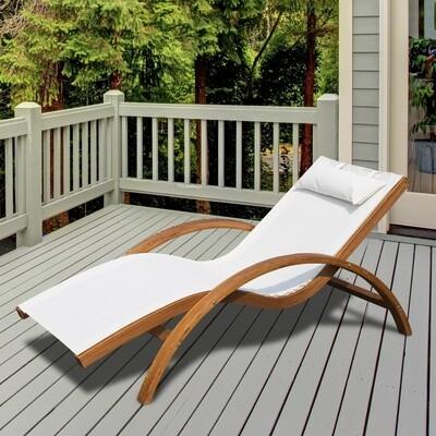 Outsunny® Sonnenliege Liegestuhl Holz creme mit Kissen