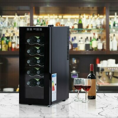 HOMCOM® Weinkühlschrank Freistehender Einzonen-Kühlschrank 12 Flaschen 11-18 °C ESG