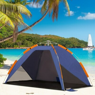 Outsunny® Strandmuschel Strandzelt Pop up Campingzelt Tragetasche 2-3 Personen Fiberglas