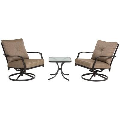 Outsunny® Schaukelstuhl Set mit Kaffeetisch 3-tlg. Gartenmöbel 360° drehbar Metall Braun