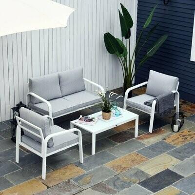 Outsunny® 4-tlg. Gartenmöbel-Set Beistelltisch Doppelsofa 2 Einzelsofa mit Kissen Alu