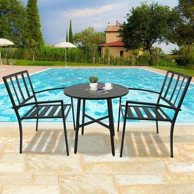 Outsunny® 3-teilige Essgruppe Sitzgruppe Gartenmöbel Set mit 1 Tisch + 2 Stühlen Metall