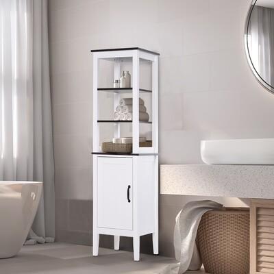 kleankin® Badezimmerregal Badeschrank Küchenschrank 3 Ablagen MDF Weiß 40 x 38 x 162,5 cm