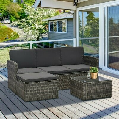 Outsunny® Dreiteiliges Gartenmöbel Set Rattan Sitzgruppe Sitzgarnitur Kaffeetisch Stahl