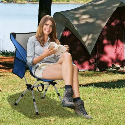Outsunny® Campingstuhl mit Telefontasche Faltstuhl Angelstuhl Höhenverstellbar Alu Blau