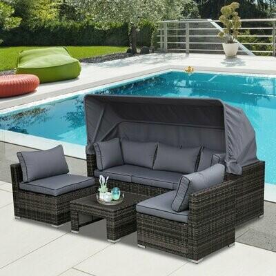 Outsunny® Rattan Lounge Set Sitzgruppe mit Sonnendach, Kissen und Beistelltisch Metall