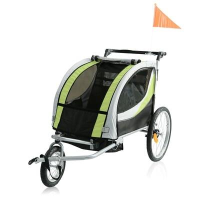SAMAX Velo-Anhänger PREMIUM 360° drehbarer Fahrradanhänger 2in1 Jogger - in Grün/Grau - Silver Frame