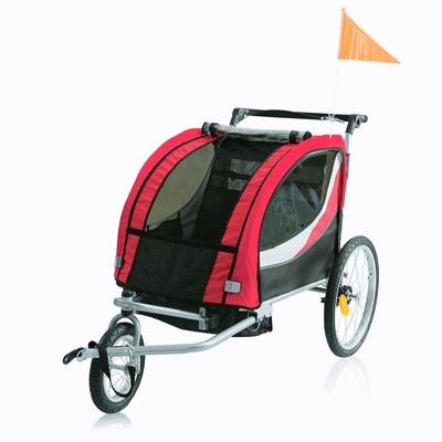 SAMAX Velo-Anhänger PREMIUM 360° drehbarer Fahrradanhänger 2in1 Jogger - in Rot/Grau - Silver Frame