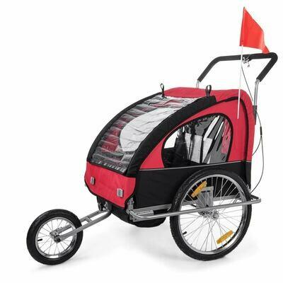 SAMAX Velo-Anhänger Fahrradanhänger 2in1 Jogger - in Rot/Schwarz - Silver Frame