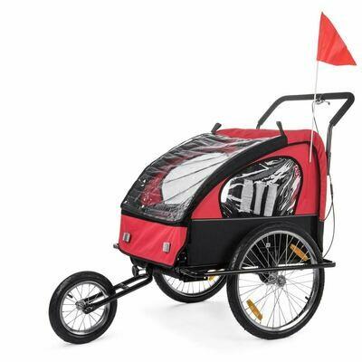 SAMAX Velo-Anhänger Fahrradanhänger 2in1 Jogger - in Rot/Schwarz - Black Frame
