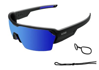 RACE глянцевые черные / зеркально-синие линзы