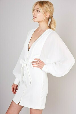 White Front Button Closure Belted Waist Dress