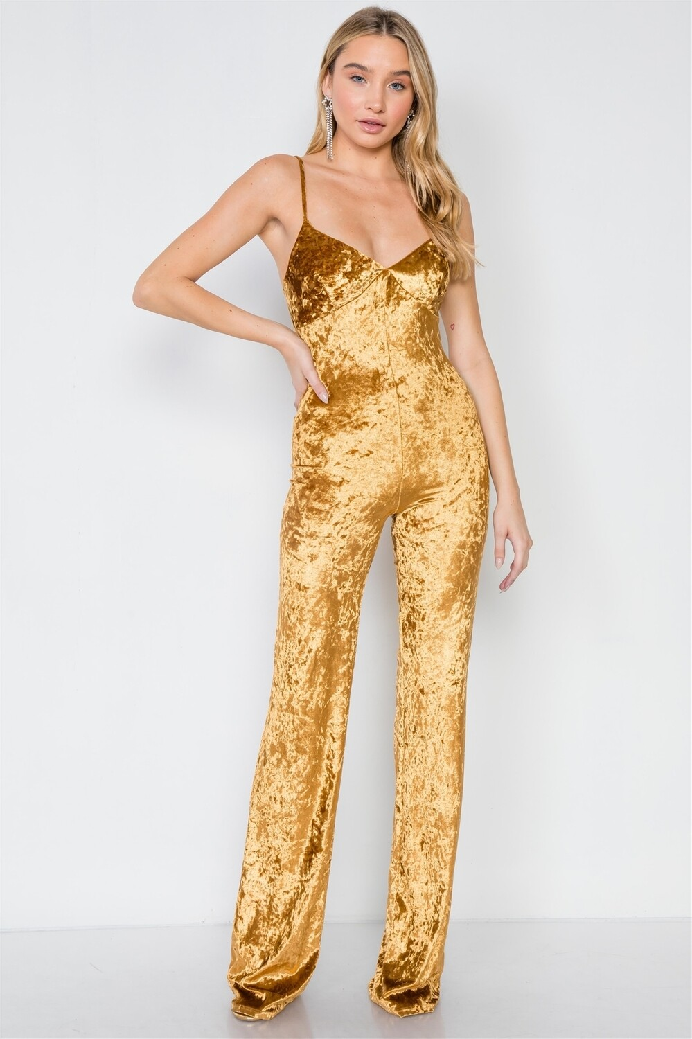 Gold Crushed Velvet Jumpsuit