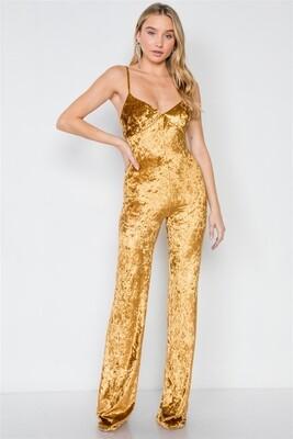 Gold Crushed Velvet Jumpsuit