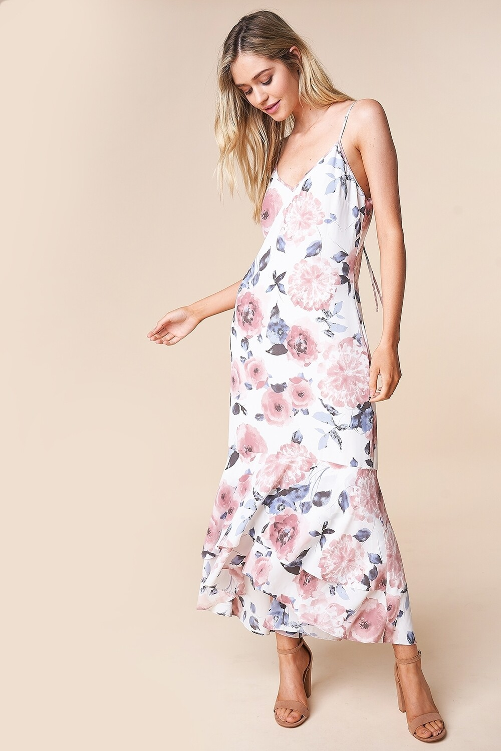 Floral Print Hi-Low Maxi Dress