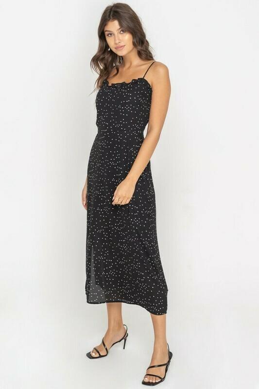 Black Flowy Ruffle Trim Midi Dress