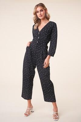 Black Heart Print Long Sleeve Button Up Jumpsuit