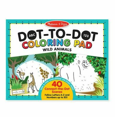 ABC's & 123's Dot-to-Dot Coloring Pad - Wild Animals