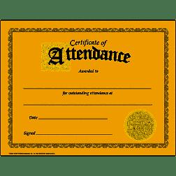 Certificate of Attendance- Perfect Attendance