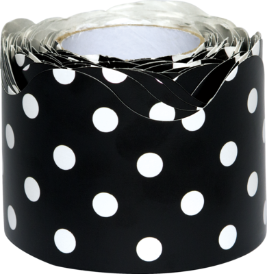 Black Polka Dots Scalloped Rolled Border Trim