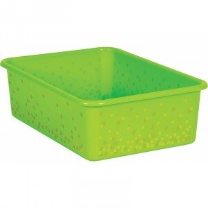 Lime Confetti Large Plastic Storage Bin (Sold in Case Pack of 12)