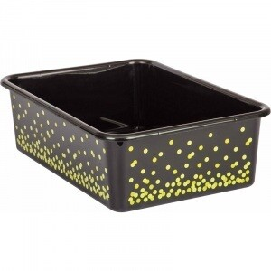 Black Confetti Large Plastic Storage Bin (Sold in Case Pack of 12)