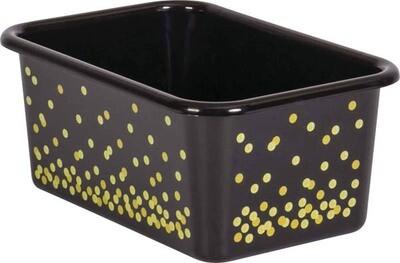 Black Confetti Small Plastic Storage Bin (Sold in Case Pack of 12)