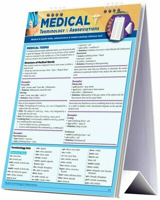 Quick Study Easel Medical Terminology & Abbreviations