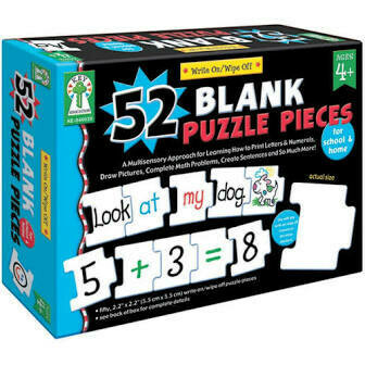 52 Blank Puzzle Pieces for school & home Ages 4+