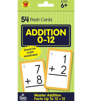 Addition 0-12 Flash Cards Ages 6+