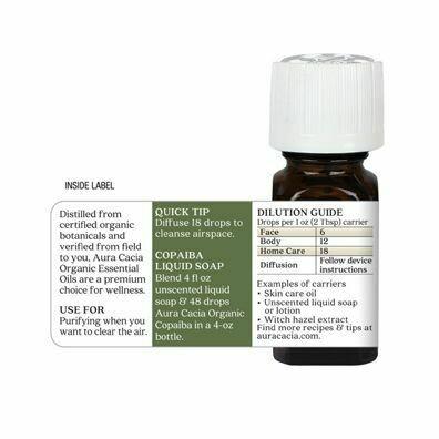 Copaiba Essential Oil, Organic from Aura Cacia 0.25 fluid ounce