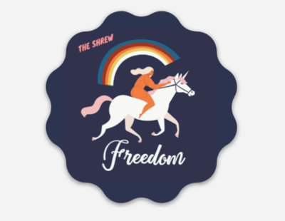 To Freedom With A Unicorn Sticker