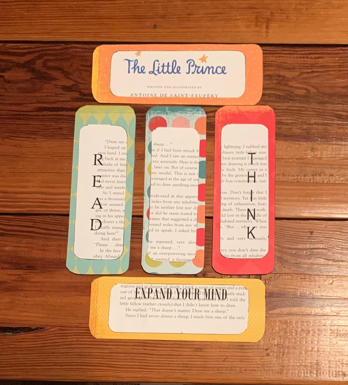 The Little Prince 5 upcycled bookmarks