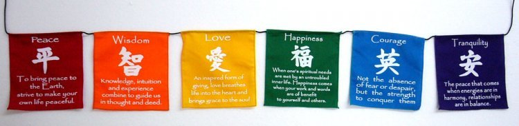 Prayer Flags - Colourful Symbols (Small) 0914