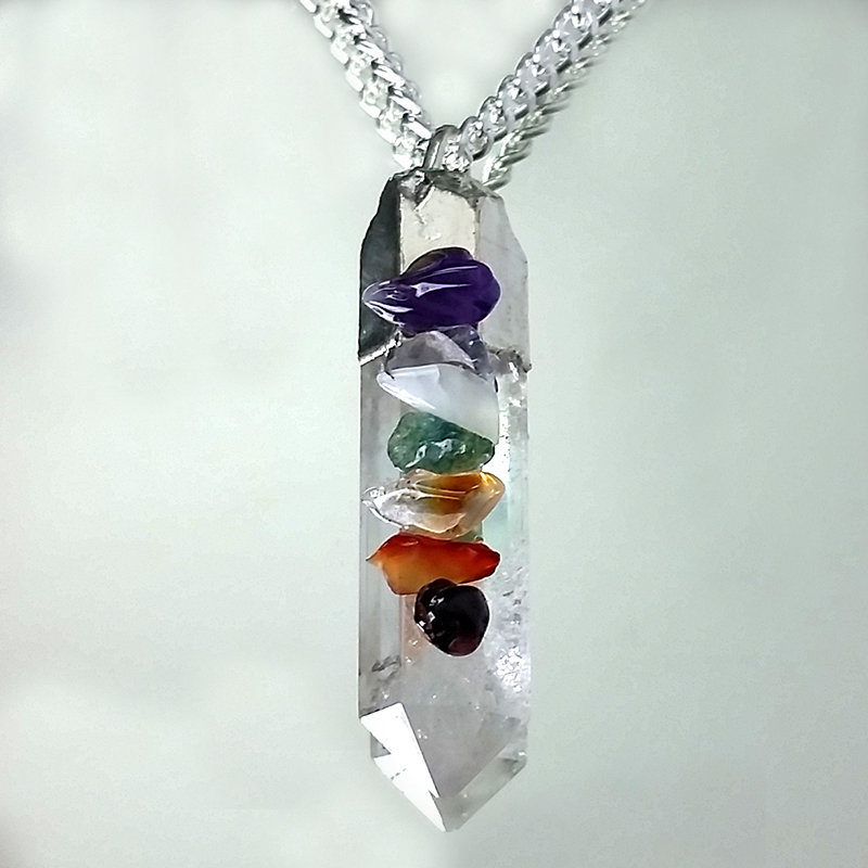 Crystal Pendant with Chakra Chips 1200