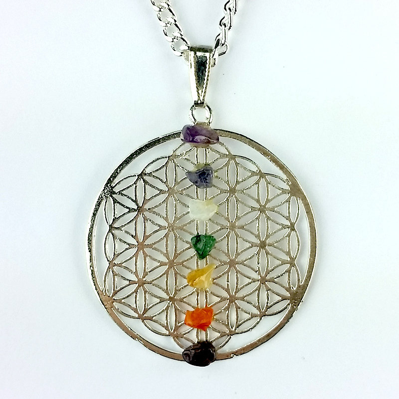 Silver Flower of Life Pendant with Chakra Chips 1202