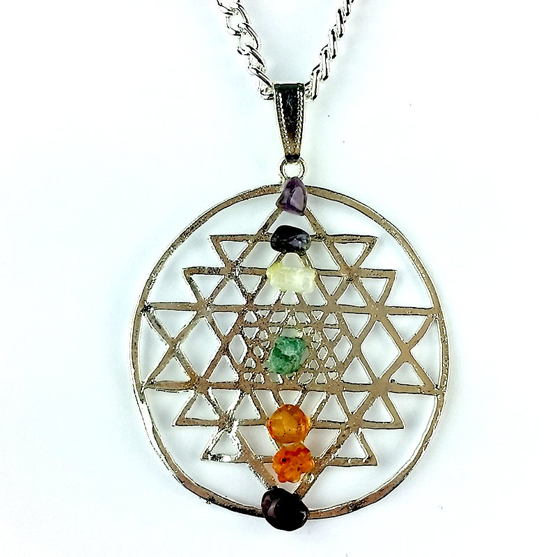 Silver Shreyantra Pendant with Chakra Chips 1201