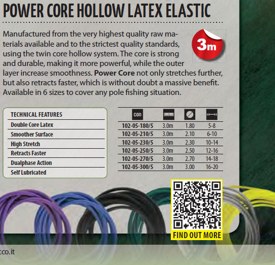 Power Core Hollow Latex Elastic 4.0m/ 3.0m  1.8  2.1  2.3  available