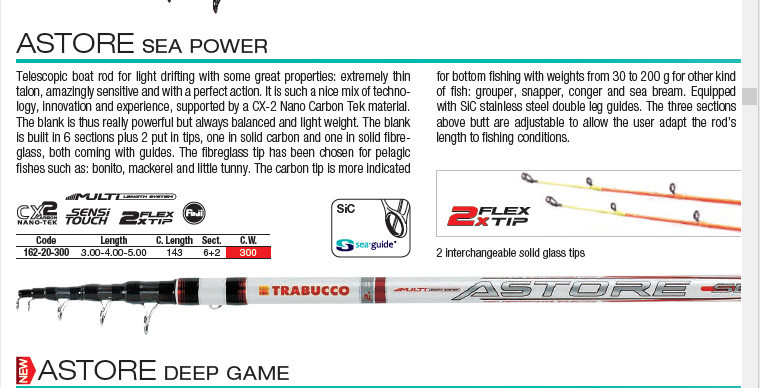 Astore Power 5.0m 300g Telescopic Boat Fishing Rod  3 to 5, 2 tips 300g