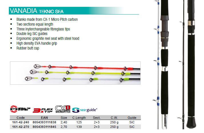Vanadia Teknic Specialist Sea bait fishing boat  rod 240 or 270  3 tips