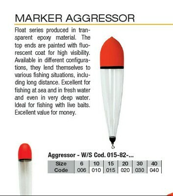 Marker Aggressor Clear Crystal floats with in line weight and bottom swivel 6g to 40g