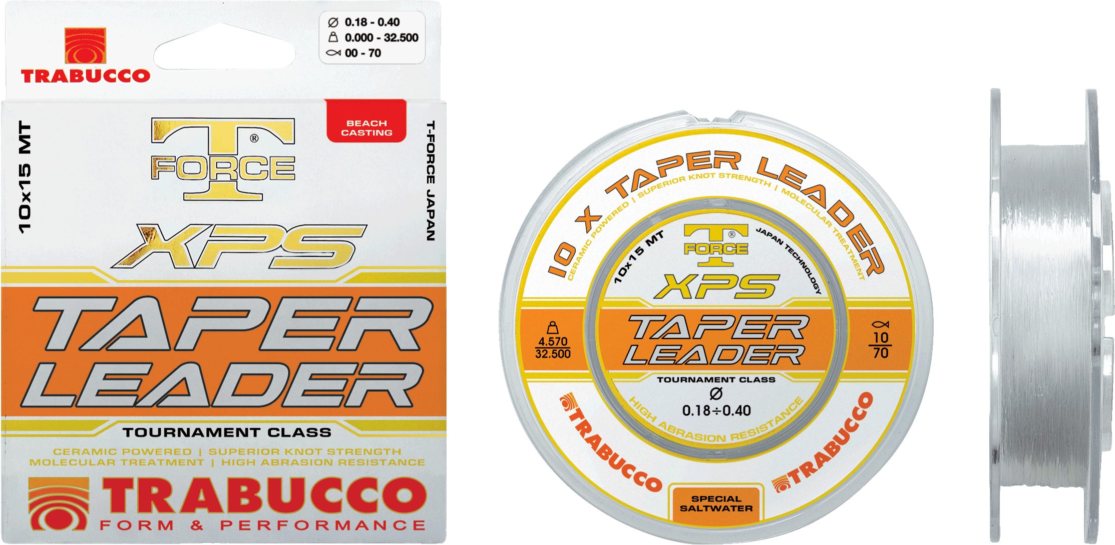 Trabucco xps Tapered surfcasting leaders 15m length  10 per spool  New sizes now in 00130