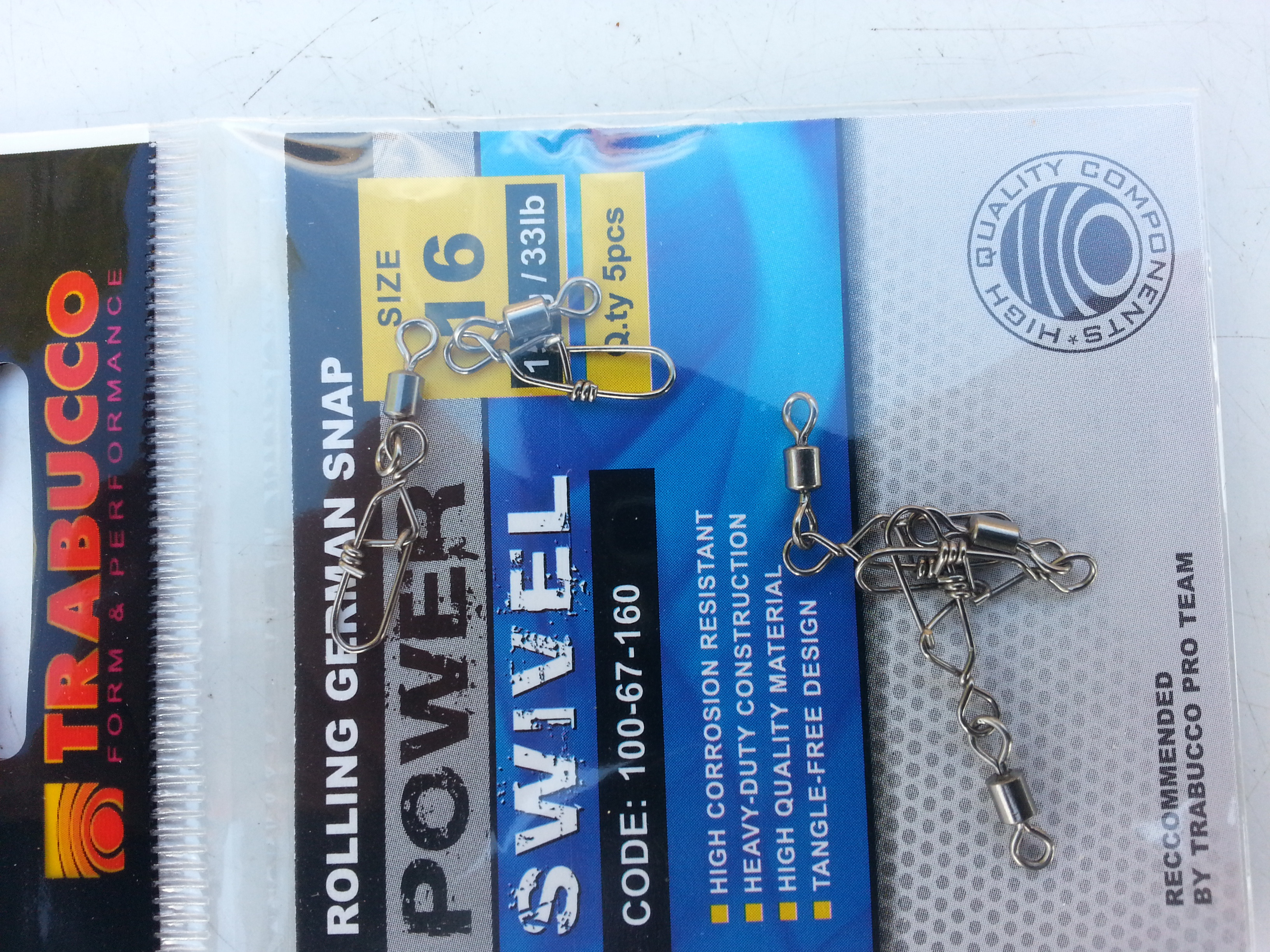 German Rolling Snap Swivels  great for lure fishing 00142