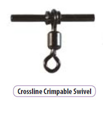 Cross line crimp-able Swivels